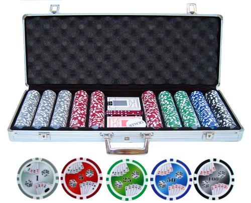 JPCommerce 500-DBLRF 11.5g 500 Piece Double Royal Flush Poker Chip Set