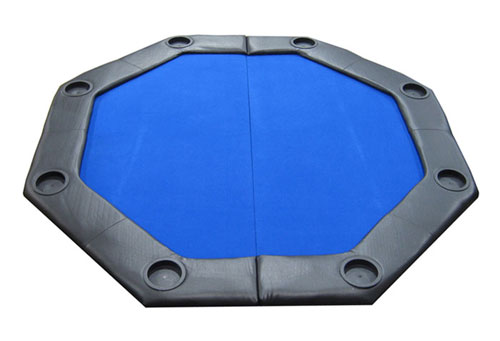 JPCommerce PDOCT-BLUE Padded Octagon Folding Poker Table Top with Cup Holders - Blue JPCM028