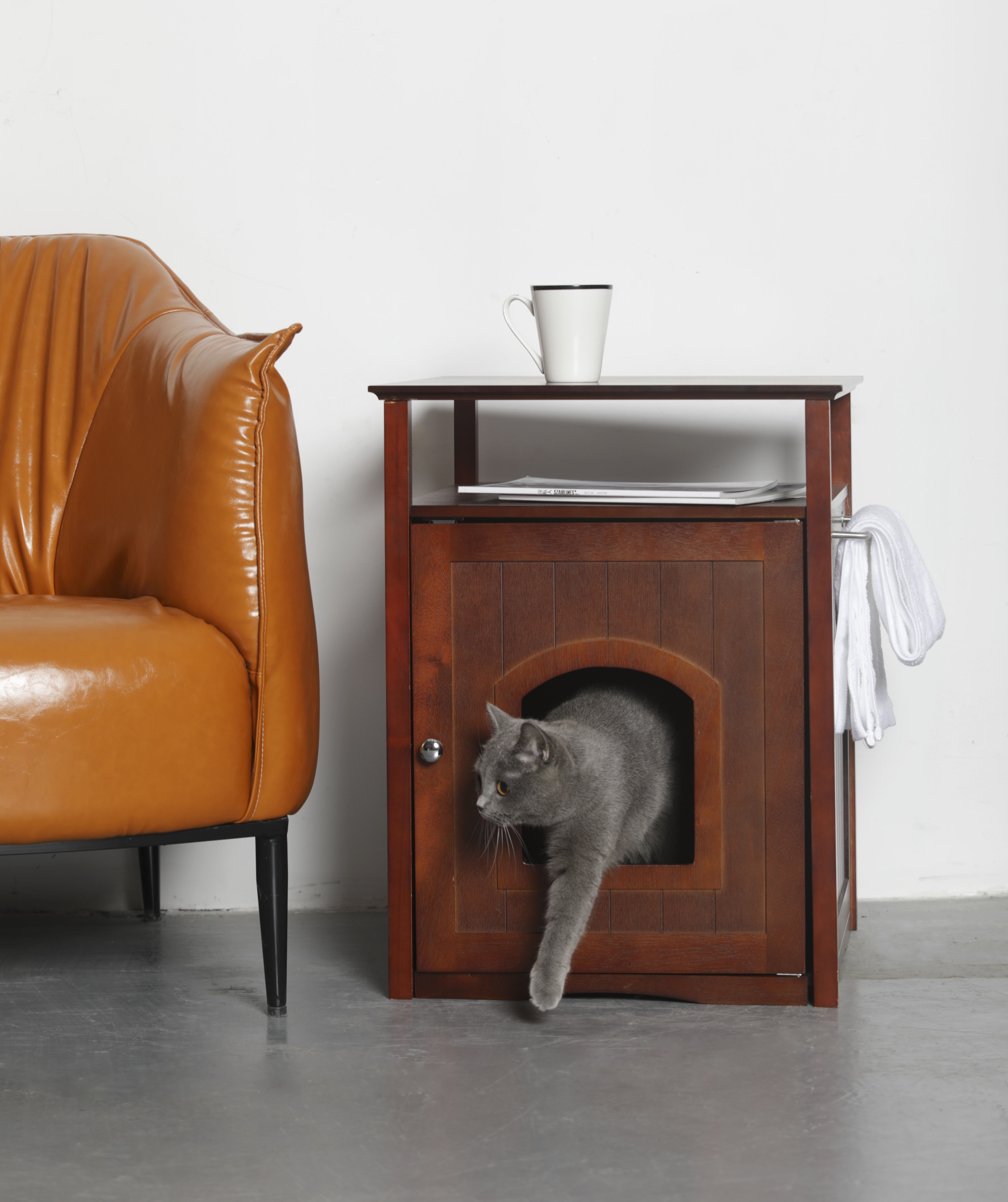 Merry Products MPS008 Cat Washroom - Night Stand Pet House - Walnut