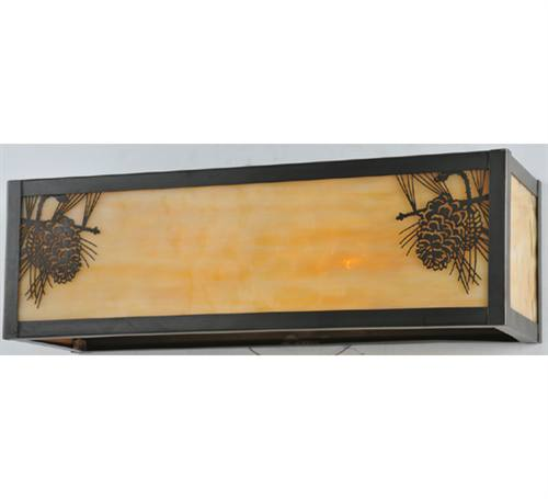 "Meyda 100804 5""H x 16""W x 5""D Pine Cone 2 Light Wall Sconce - Craftsman Brown"