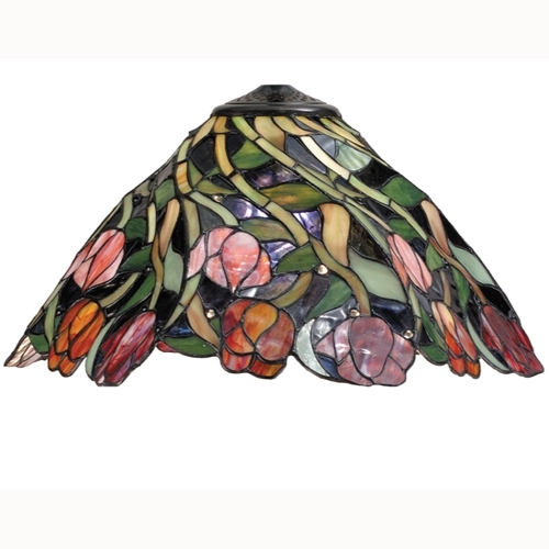 Meyda 11339 Floral Nouveau Twist Tulip Glass Shade - 21 Inches Wide
