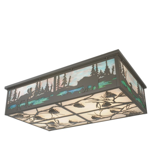 Meyda 81815 Moose And Trees With Pinecones 8 Light Flush Mount Fixture