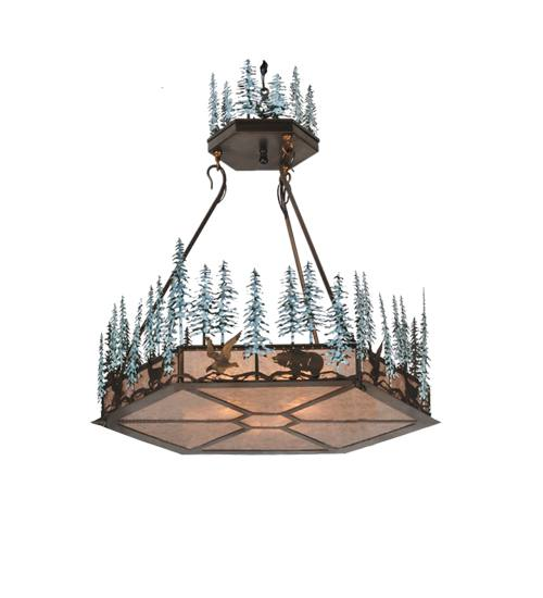 Meyda 106007 Pinetrees And Wildlife 3 Light Inverted Pendant Fixture