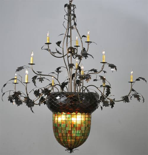Meyda 100697 Acorn And Oak Leaf 12 Plus 3 Light Chandelier