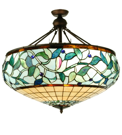 Meyda 73637 Ivy Tiffany-Floods 13 Light Semi-Flush Fixture