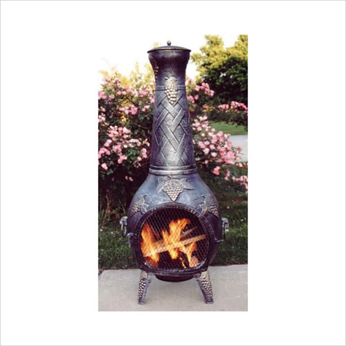 Oakland Living 8015-AP Grape Chimenea With Grill - Antique Pewter