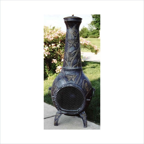 Oakland Living 8016-AP Butterfly Chimenea With Grill - Antique Pewter