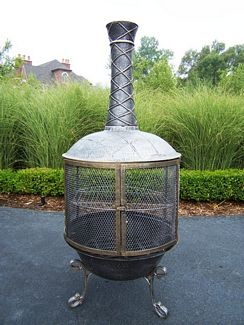 Oakland Living 8019-AP Tower Feast Chimenea With Grill - Antique Pewter