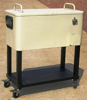 Oakland Living 90010-BS 80 Qt Patio Cooler Cart With Full Tray - Beach Sand
