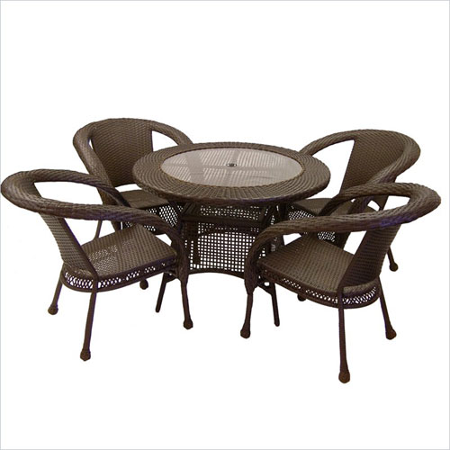Oakland Living 90045-5-CF Elite Wicker 5pc Dining Set - Coffee
