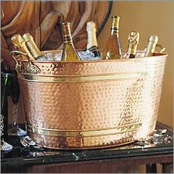 Old Dutch 879 Oval Decor Copper Party Tub Wine Cooler and Ice Bucket