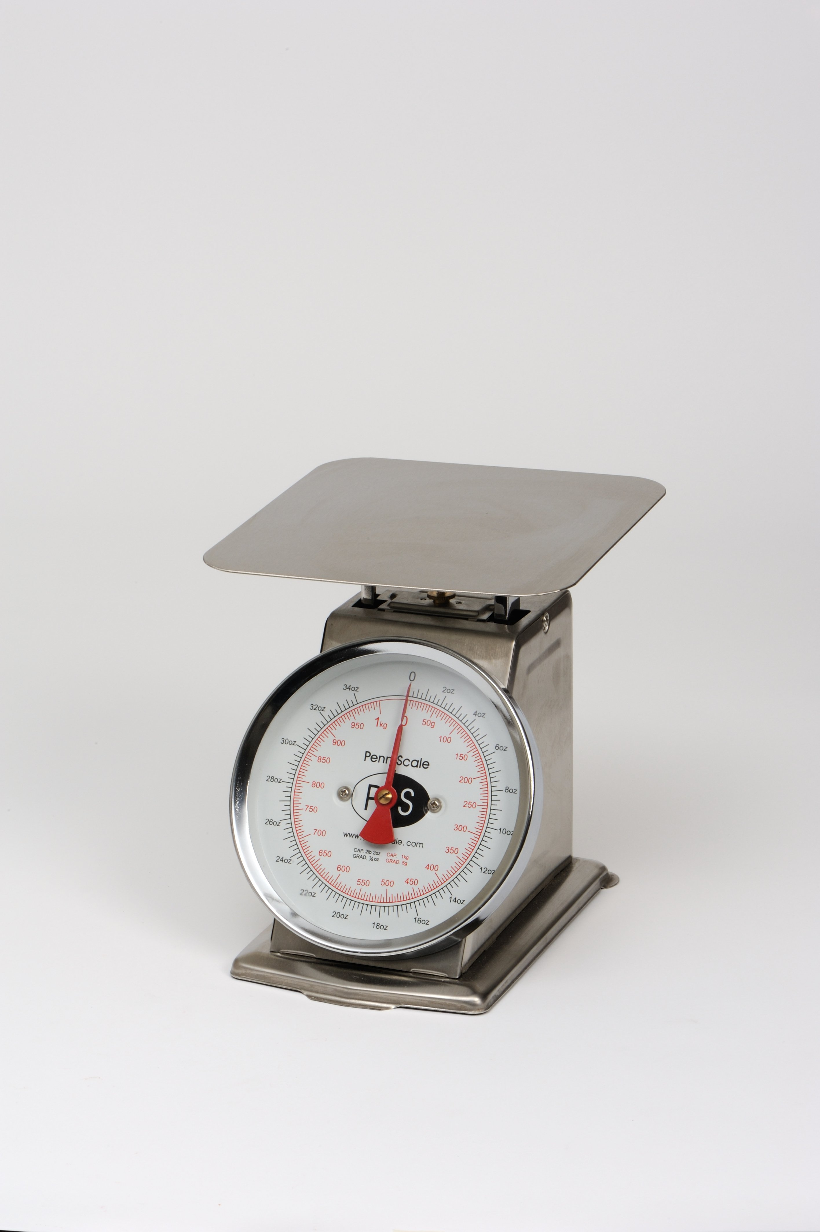 Penn Scale P-2 2 lb. Spring Stainless Steel Scale with 8 inch Stainless Steel Platter