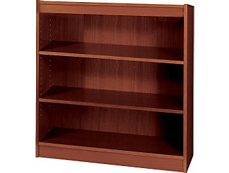 Safco 1502MHC WorkSpace Square Edge 3 Shelf Bookcase in Mahogany
