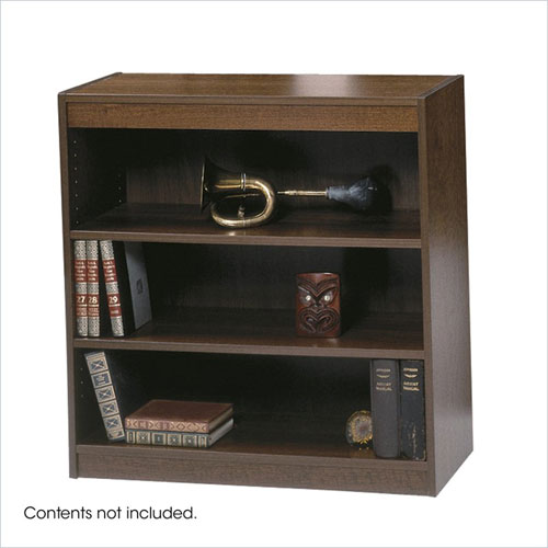 Safco 1502WLC WorkSpace Square Edge 3 Shelf Bookcase in Walnut
