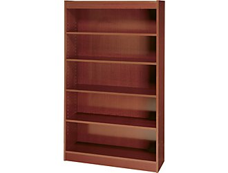 Safco 1504MHC WorkSpace Square Edge 5 Shelf Bookcase in Mahogany