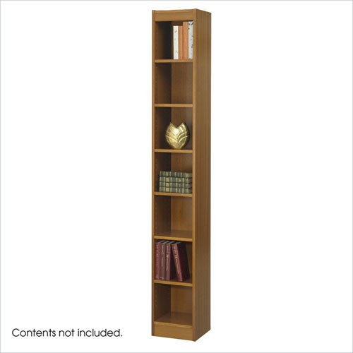 Safco 1514MOC WorkSpace 7-Shelf Baby Bookcase - 12 x 84 Inch - Medium Oak