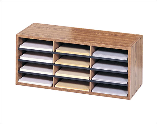 Safco 9401MO Wood/ Corrugated Organizer with 12 Compartments in Medium Oak