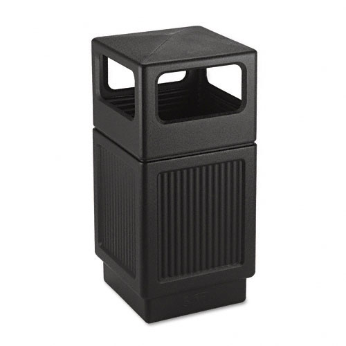 Safco 9476BL Canmeleon Collection 38 Gallon Side Open Receptacle in Black