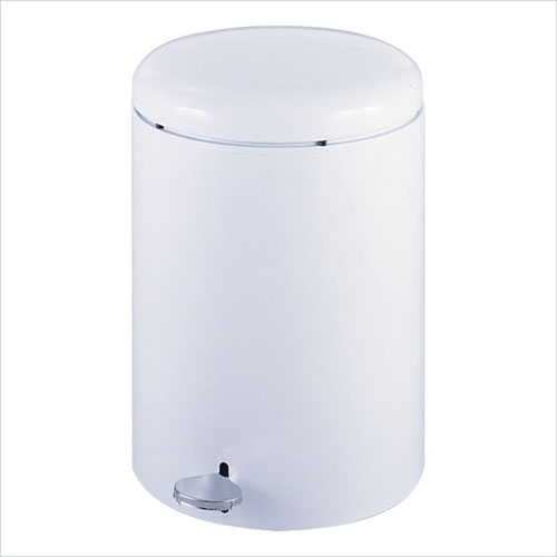 Safco 9681WH 4 Gallon Round Step On Receptacle in White