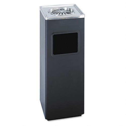 Safco 9696BL 3 Gallon Square Sandless Ash N Trash Urn in Black