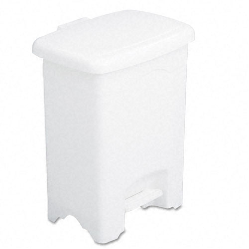 Safco 9710WH Four Gallon Plastic Step-On Receptacle in White