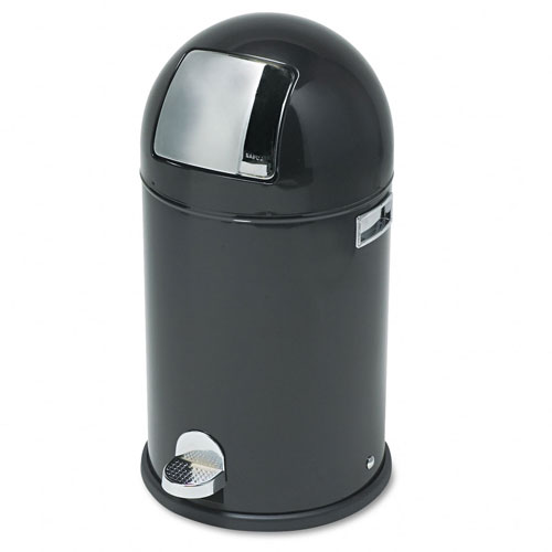 Safco 9720BL Dome Step-on 9 gal Waste Receptacle - Black