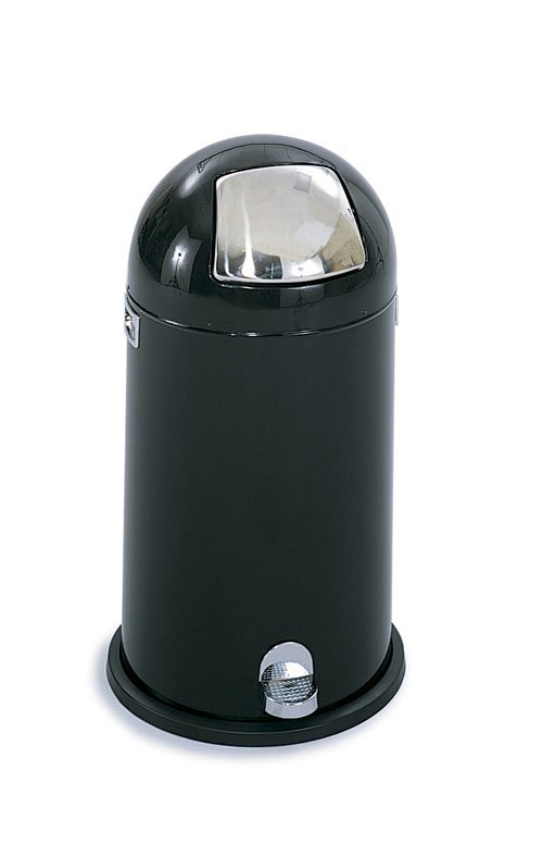 Safco 9721BL Dome Step-on 12 Gallon Waste Receptacle in Black