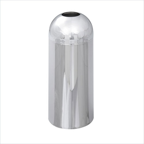 Safco 9875 Reflections 15 Gallon Dome Receptacle with Open Top in Chrome