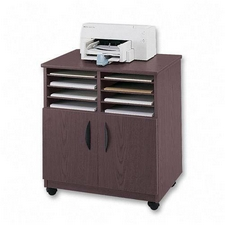 Safco 1851MH Mobile Machine Stand with Sorter in Mahogany