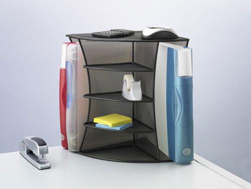 Safco 3261BL   Onyx Mesh Desk Corner Organizer - Black