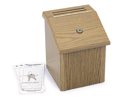 Safco  4230MO   Wood Suggestion Box - Medium Oak