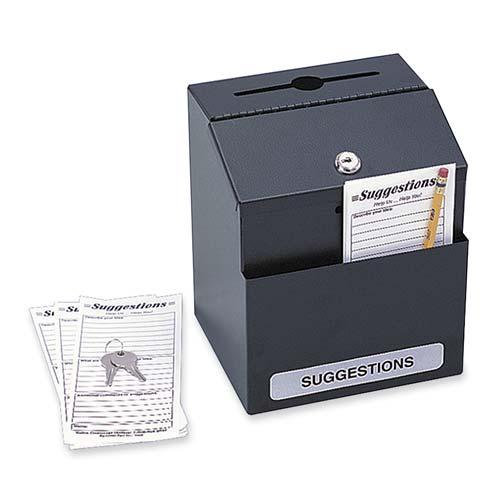 Safco  4232BL   Steel Suggestion Box - Black