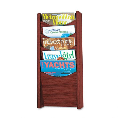 Safco 4330MH Wood Magazine Rack with 5 Pockets in Mahogany