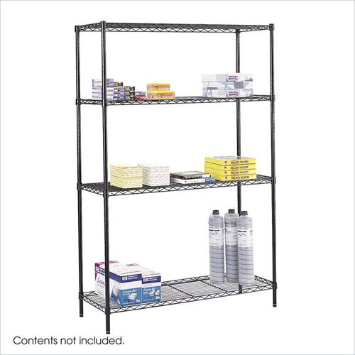 Safco 5241BL 18 x 48 Inch Wire Shelving Starter Unit in Black