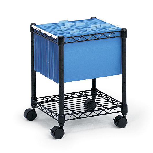 Safco 5277BL Compact Mobile File Cart in Black