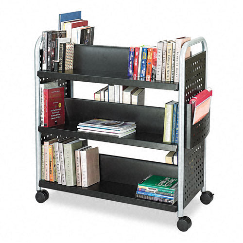 Safco 5335BL Scoot Double Sided 6-Shelf Book Cart in Black