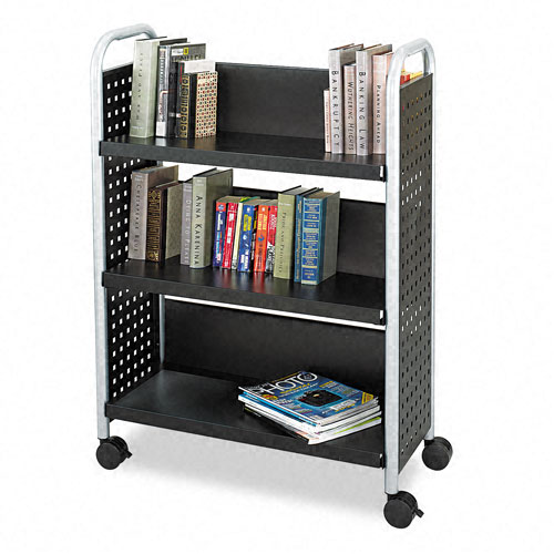 Safco 5336BL Scoot Single Sided 3-Shelf Book Cart in Black