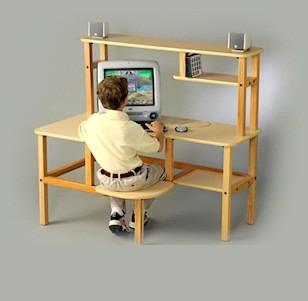 Wild Zoo Furniture grd mpl/blu-wz Grade School Computer Desk in Maple with Blue Trim