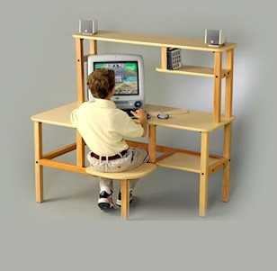 Wild Zoo Furniture grd mpl/red-wz Grade School Computer Desk in Maple with Red Trim