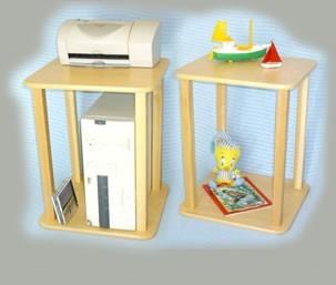 Wild Zoo Furniture Stnd wht/brn-wz CPU - Printer Stand  in White with Brown Trim