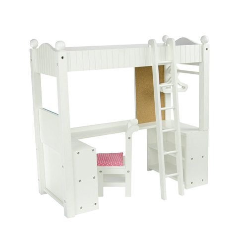 Teamson Design Corp TD-0204A Little Princess Doll Furniture - College Dorm Double Bunk Desk, 18 in.