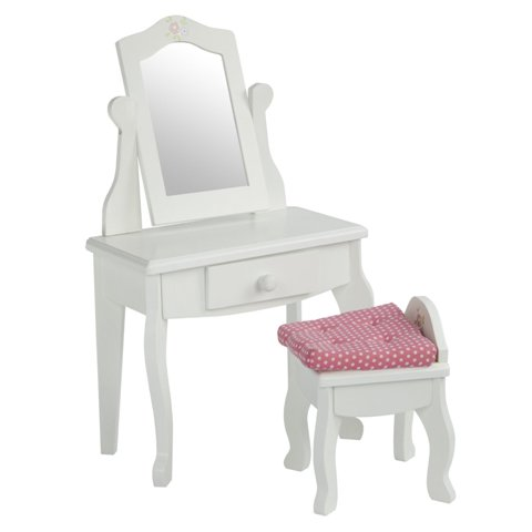 Teamson Design Corp TD-0207A Little Princess Doll Furniture - Vanity Table & Stool Set, 18 in.