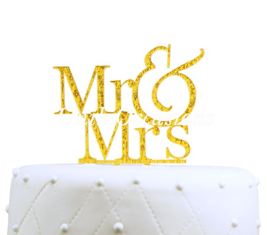 Unik Occasions Mr & Mrs Acrylic Cake Topper, Gold Glitter