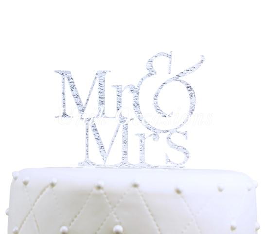 Unik Occasions Mr & Mrs Acrylic Cake Topper, Silver Glitter