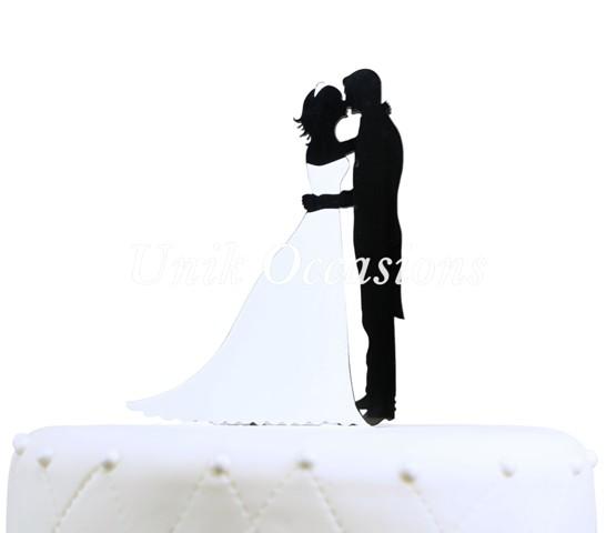 Unik Occasions Bridal Couple Silhouette Acrylic Cake Topper