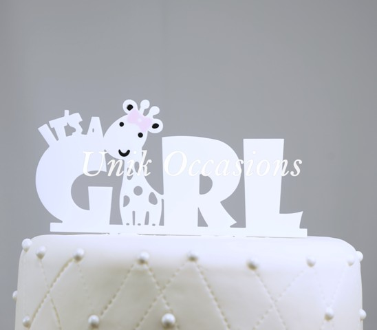 Unik Occasions Its A Girl Baby Acrylic Cake Topper