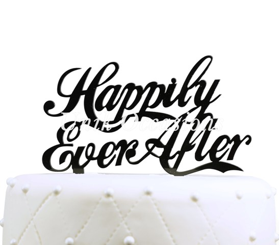 Unik Occasions Happily Ever After Acrylic Wedding Cake Topper, Black