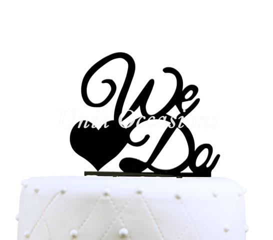 Unik Occasions We Do Acrylic Wedding Cake Topper, Black