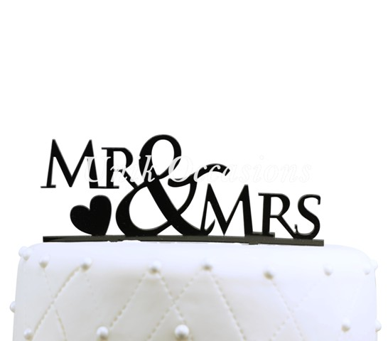 Unik Occasions Mr & Mrs Acrylic Wedding Cake Topper with Heart, Black
