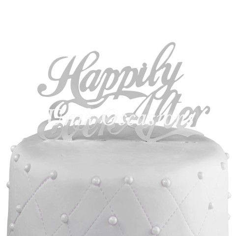 Unik Occasions Happily Ever After Acrylic Wedding Cake Topper, Silver Mirror